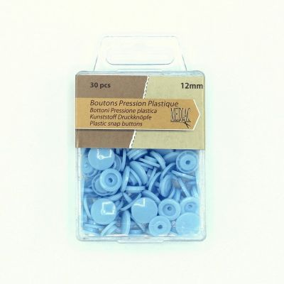 Box with 30 snap buttons - sky blue