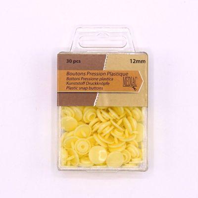 Boîte de 30 boutons pressions jaune pâle
