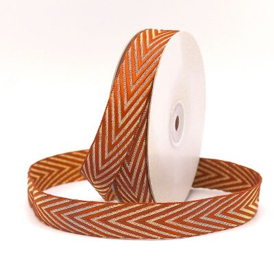 Braid trim with herringbone pattern - rust and gold