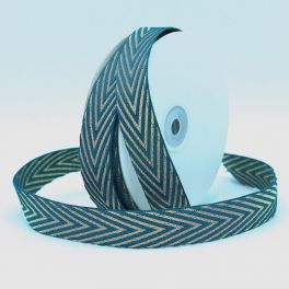 Braid trim with herringbone pattern - petroleum blue and gold
