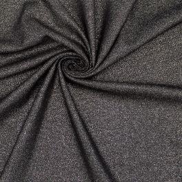 Zwarte stof met zilveren lurex draad