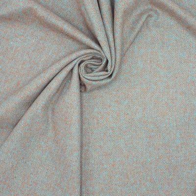 Tissu en laine à chevrons bleu et rouille