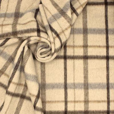 Tissu à poils ras beige à carreaux