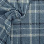 Checkerd fabric with short-haired fur - blue