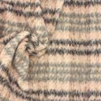 Pink wool fabric with grey striped