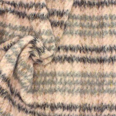 Roze stof in wol met grijze strepen