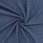 Tissu double gaze de coton bleu à pois dorés