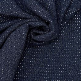 Fabric with golden fantasy thread - navy blue