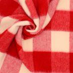 Geruite stof met kortharige vacht - rood