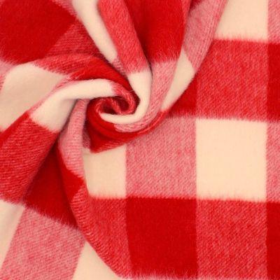 Tissu à poils ras rouge à carreaux