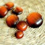 Resin button - rust and brown