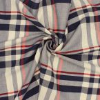 Tissu en coton et lin à carreaux