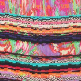 Tissu viscose à motifs psychédélique multicolore