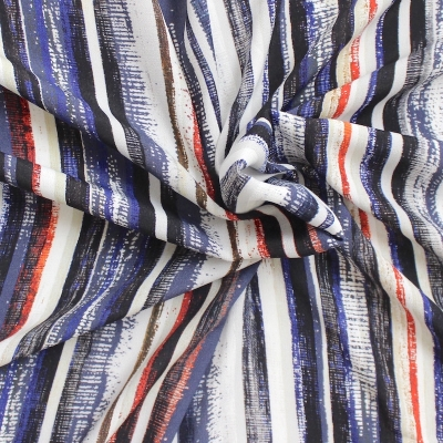 Striped viscose fabric - multicolored