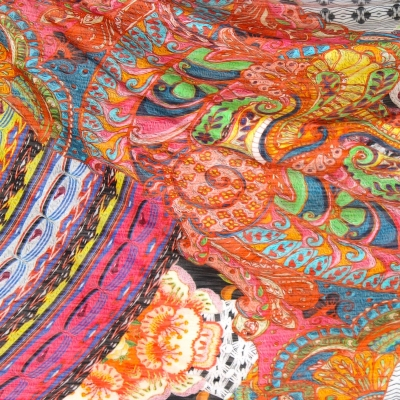 Stretch jersey fabric with vintage multicolored motifs