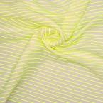 Gestreepte stof in linnen en katoen - fluo geel