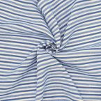 Gestreepte stof in linnen en katoen - blauw