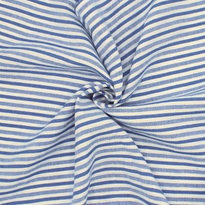 Striped fabric in linen and cotton - blue