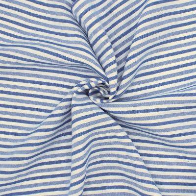 Tissu en lin et coton à rayures bleues