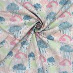"""Cotton printed with """"clouds and swallows"""" - grey-beige"""