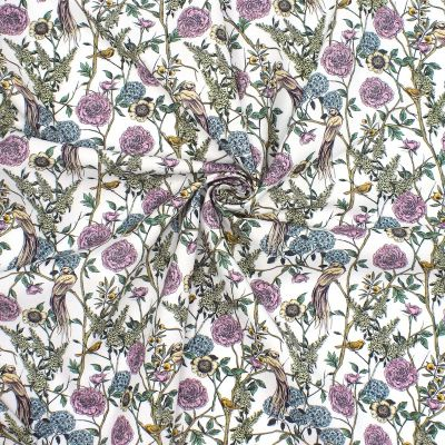 "Cotton printed with ""foliage and animals"""