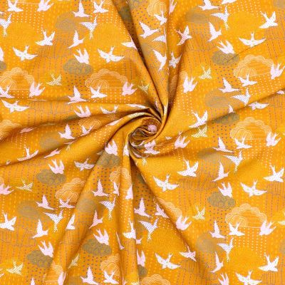 """Cotton printed with """"clouds and swallows"""""""