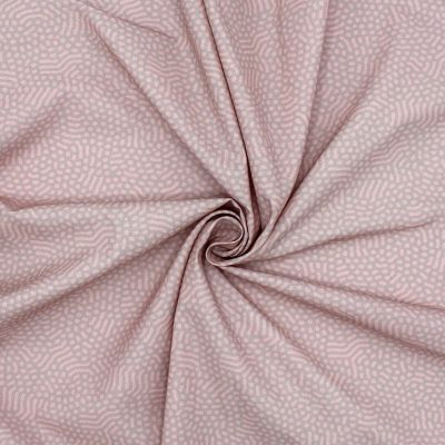 Bedrukt katoen - roos en grijs