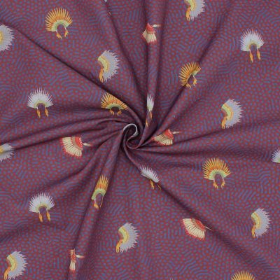 Cotton printed with indian headdress print