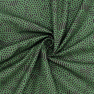 Coton imprimé vert et prune