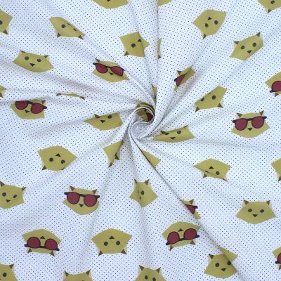 Tissu en coton tête de chat moutarde