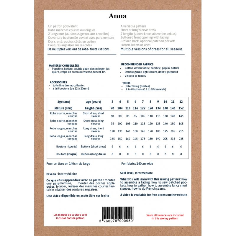 Patron Robe Anna 3 - 12ans