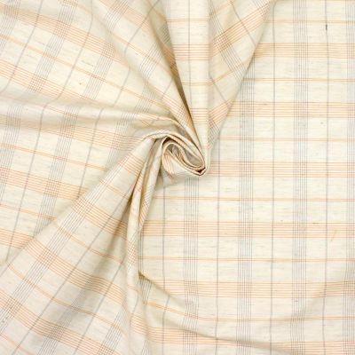 Tissu à carreaux  sur fond écru