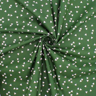 Tissu en coton à triangles sur fond vert