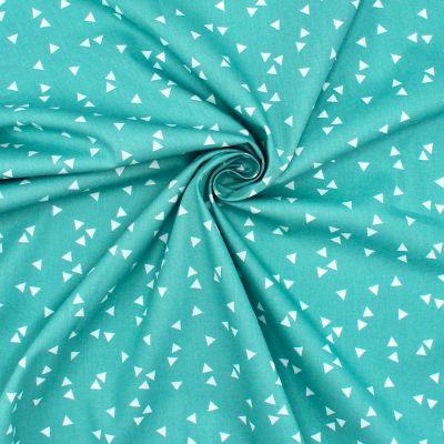 Tissu coton à triangles sur fond vert sauge