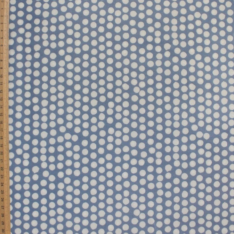 Coated cotton with dots - blue