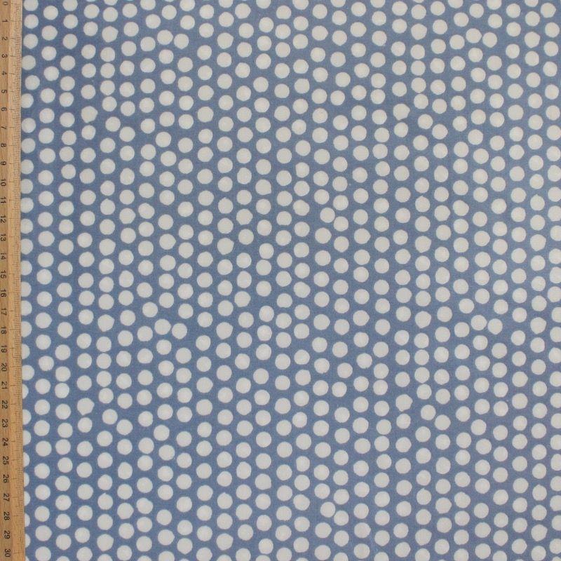 Gecoat katoen met stippen - blauw