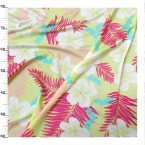 Lycra fabric with pink, white and blue flowers on green background