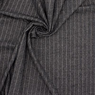 Tissu laine gris à fines rayures
