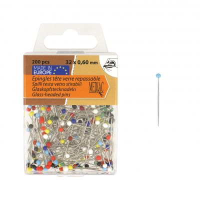 Glass-headed pins