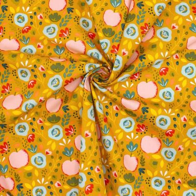 Cotton with flowers and apples - mustard yellow