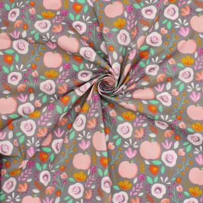 Cotton with flowers and apples - grey