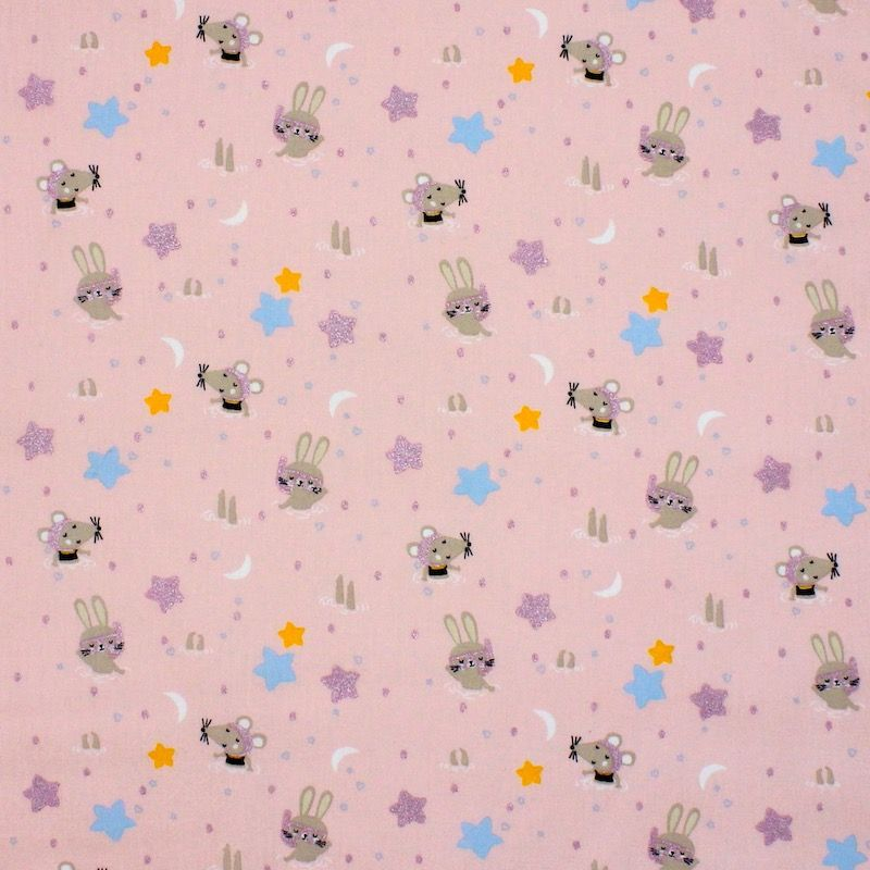 Cotton with animals and stars - pink
