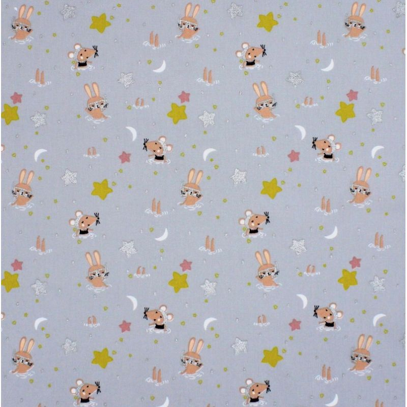 Cotton with animals and stars - grey
