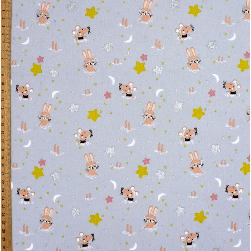 Tissu coton gris animaux et étoiles