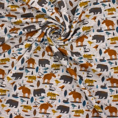 Sweat gris chiné imprimé animaux