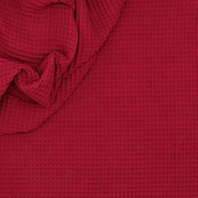 Piqué cotton with honeycomb pattern - garnet red