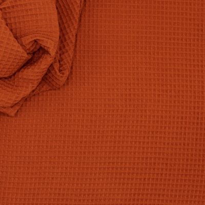 Piqué cotton with honeycomb pattern - rust
