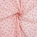 Tissu en cretonne rose petit oiseau