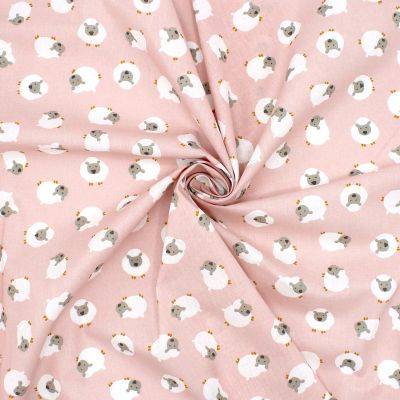 Tissu en cretonne rose mouton