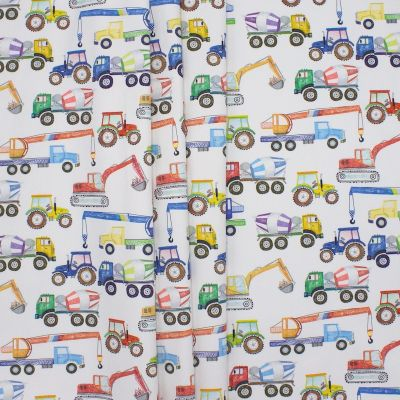 Cotton printed with construction vehicules